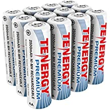 Tenergy Premium Rechargeable AA Batteries, High Capacity 2500mAh NiMH AA Battery, AA Cell Battery, 12-Pack