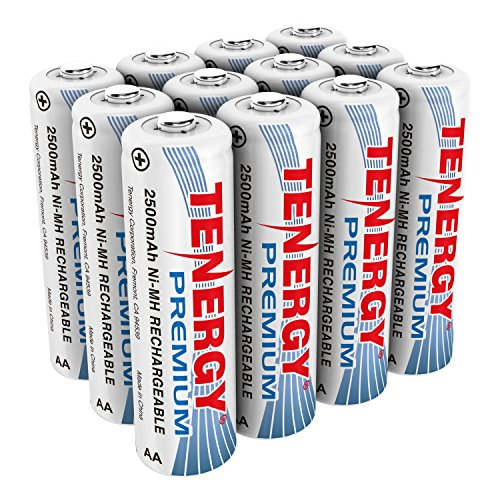 - Tenergy Premium Rechargeable AA Batteries, High Capacity 2500mAh NiMH AA Battery, AA Cell Battery, 12-Pack