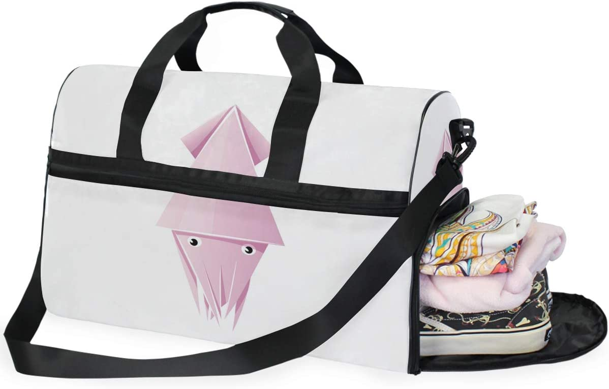 MALPLENA Inkfish Paper Folding Travel Duffel Bag Weekender Bag with Shoes Compartment for Men Women