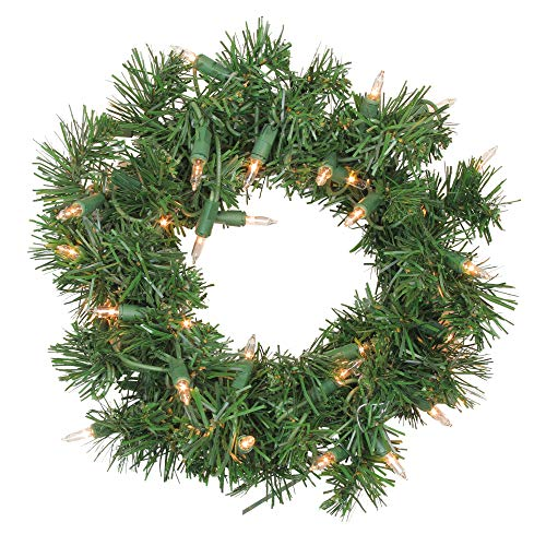 Pre Lit Artificial Pine Wreath - Northlight Pre-Lit Deluxe Windsor Pine Artificial Christmas Wreath - 10 inch, Clear Lights