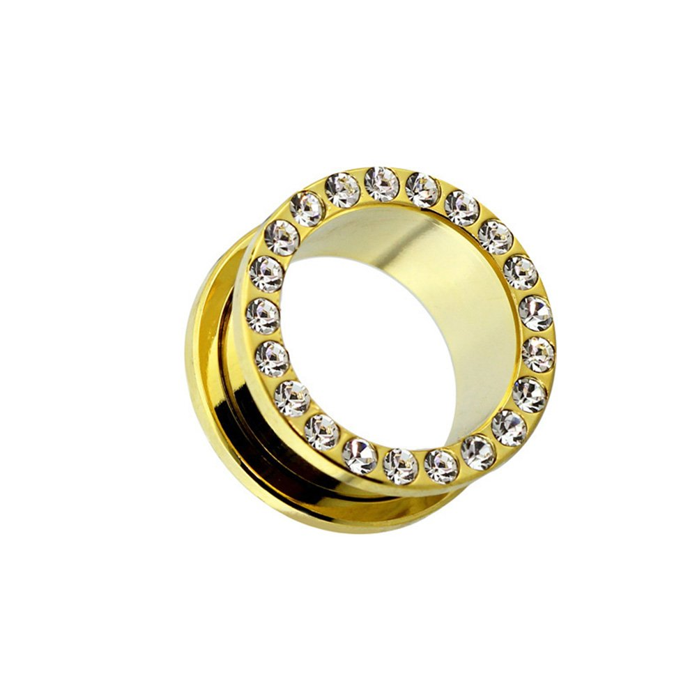 Dynamique Pair Of Screw Fit Tunnels Gem Paved Rim Gold PVD Plated 316L Surgical Steel
