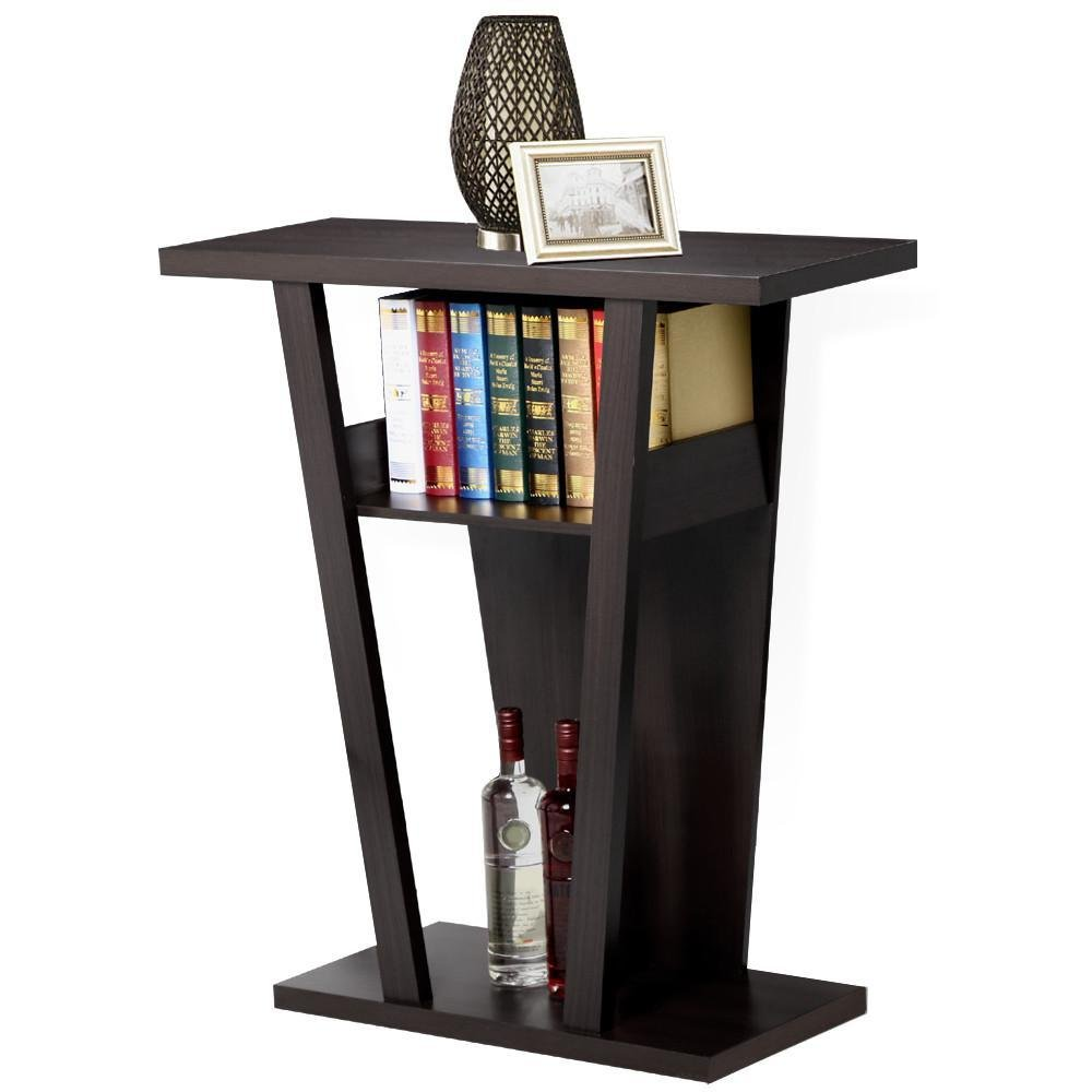 Yaheetech Angled Console Sofa Contemporary Entry Table Hall Table with 2 Shelevs, Rich Espresso