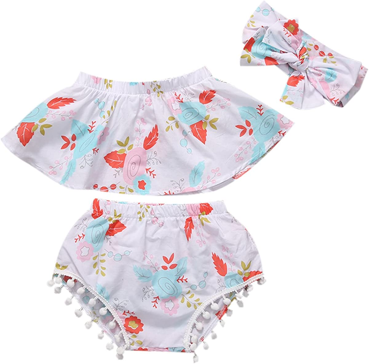 Infant Baby Girl Off Shoulder Tops Tassel Shorts Outfit with Cute Headband