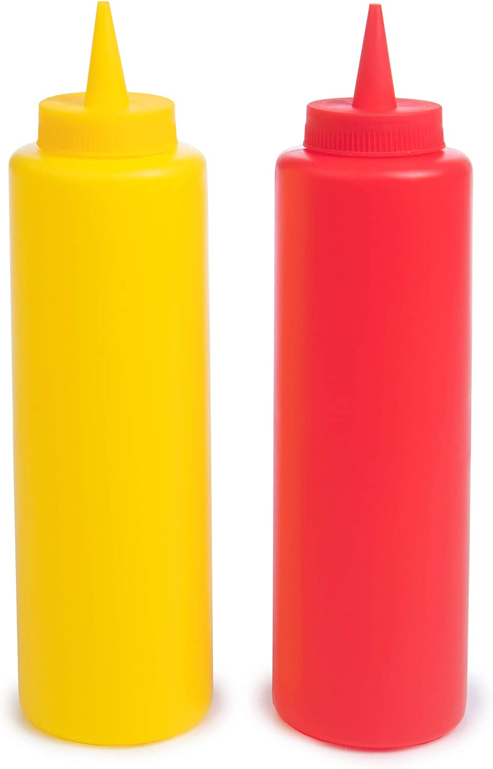 Ketchup and Mustard Squeeze Bottle Combo Pack | 2-pack 16-oz Red & Yellow Plastic Kitchen Table Condiment Squirt Dispensers | Restaurant Supplies for Food Truck, Grilling, Dressing, BBQ Sauce, Crafts