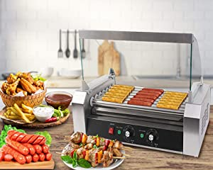 Safstar Commercial 18 Hot Dog 7 Roller Machine Stainless Steel Non Stick Electric Hotdog Grilling Cooker Appliances with Cover - 1050 Watt