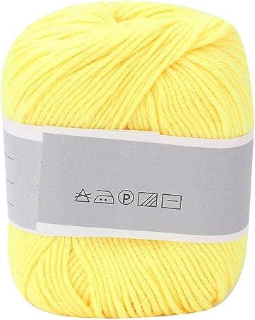 Hilo de algodón grueso y suave para tejer a mano, de fibra acrílica amarillo claro: Amazon.es: Hogar