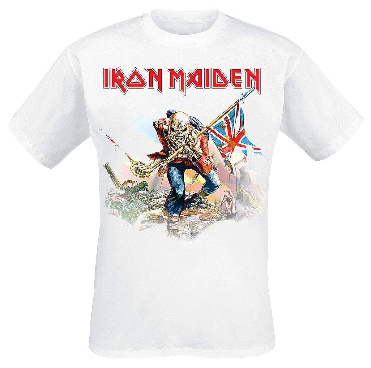 Iron Maiden Trooper On White T-Shirt White: Amazon.co.uk: Clothing