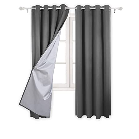 Deconovo Eyelet Curtains Ready Made Room Darkening Thermal Insulated Ring Top Blackout For Bedroom With