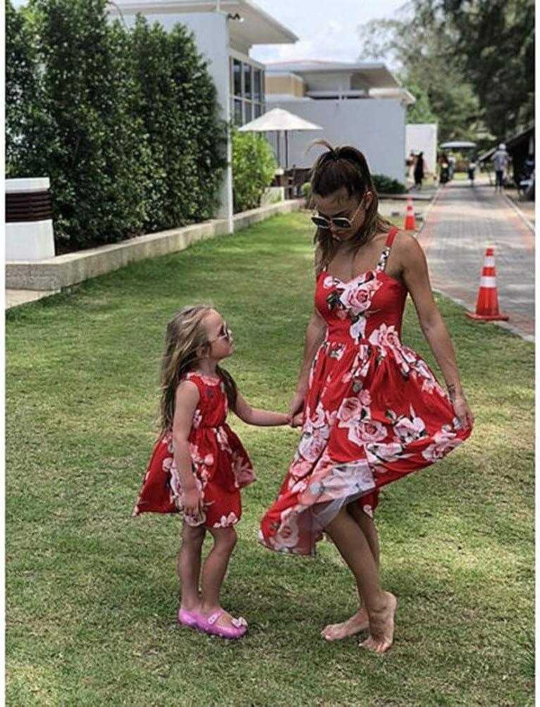 Haobing Vestito per Madre e Figlia Senza Spalline Vita Alta Stampato Casual Cocktail Abito Genitore-Bambino