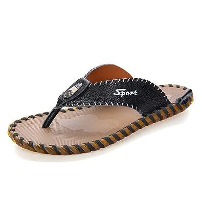 Z.SUO Herren-Leder-Gemütliche Mode Flip-Flop Zehentrenner Sandalen(41 EU,Orange)