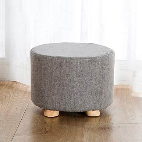 Color : Orange Paddia Home Solid Wood Stool Fashion Creative Sofa Change Shoes Bench Fabric Living Room Small Bench Storage Ottoman Chair Stool Cream Upholstered Footstool Linen Round Pouffe Chair