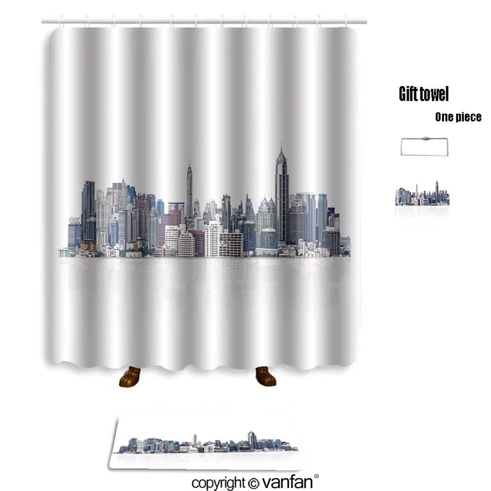 vanfan bath sets with Polyester rugs and shower curtain cityscape modern building on a white backgrou shower curtains sets bathroom 72 x 84 inches&31.5 x 19.7 inches(Free 1 towel and 12 hooks)