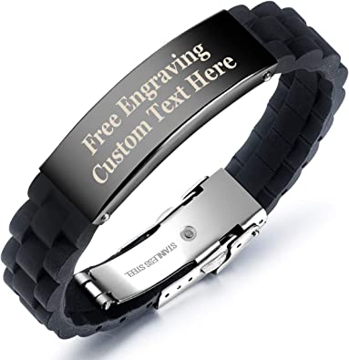 Genuine Tribal Steel Text Engraved Men/'s Black Leather Personalised Bracelet