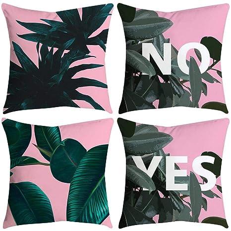 VJGOAL impresión de Moda hogar Decorativo Suave sofá cómodo Cojín Cuadrado Funda de Almohada 4 Piezas Conjunto(45_x_45_cm,Multicolor4)