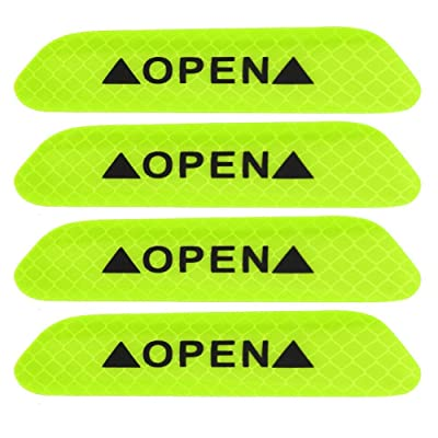 4pcs Car Reflective Safety Stickers, Keenso Auto Self Adhesive Waterproof Safety Warning Caution Decals OPEN Stickers (Green): Automotive