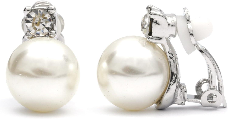 Joyería Idin–redondo blanco perla simulada con CZ Clip en los pendientes con caja de regalo