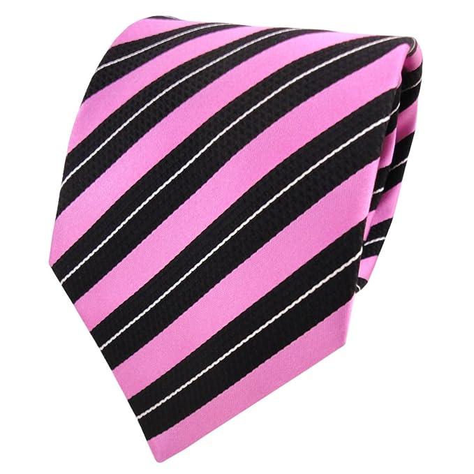 Corbata de seda - rosa violeta pink negro plata rayas: Amazon.es ...