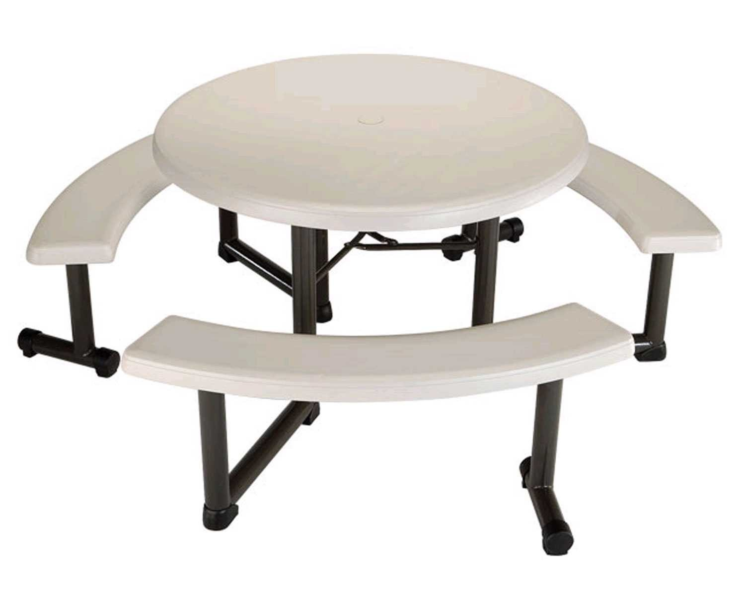 Lifetime Round Picnic Table and Benches, 44 Inch Top , Almond by Lifetime Products