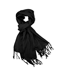 Soft Pashmina Scarf for Women Shawl Wrap Scarves Lady Women's Scarfs in Solid Colors- Black