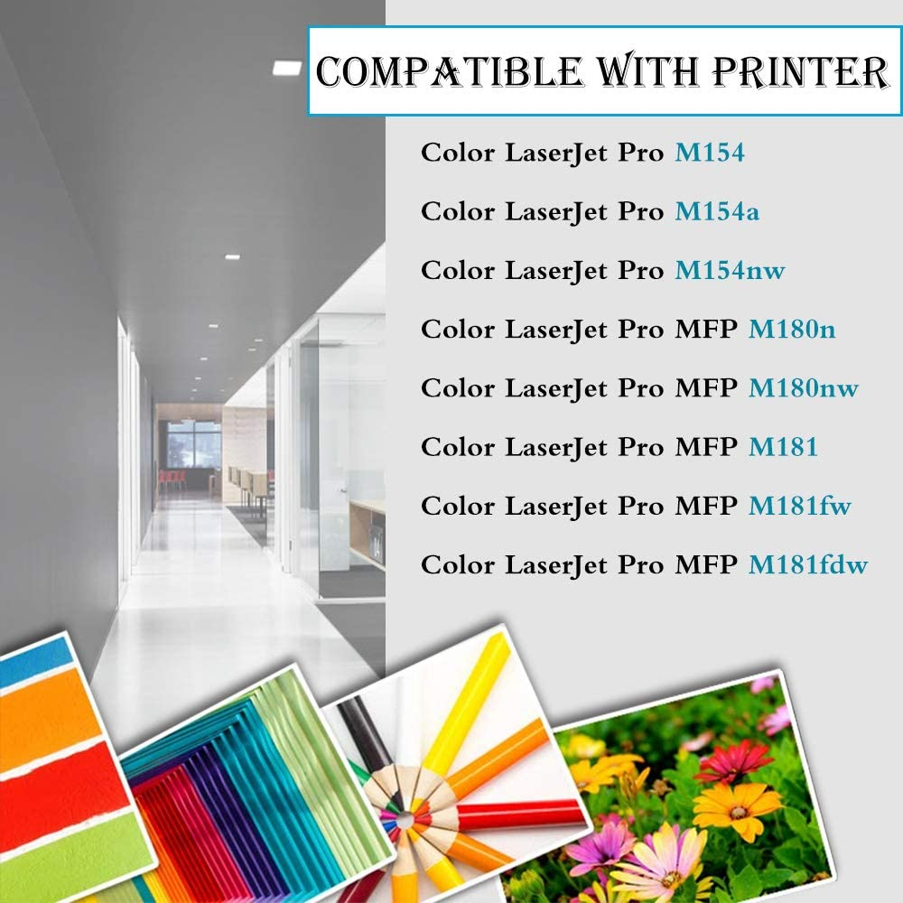 2BK+1C+1Y+1M CF510X CF511X CF512X CF513X Laserjet Pro M154a M154nw M180n MFP M181fw MFP M181fdw MFP M180nw Toner Cartridge,Sold by UstyleToner. 5-Pack Compatible Toner Replacement for HP 204X