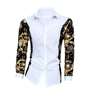 89c4d84a2 Rrimin Men Casual Stylish Long Sleeve Dress Shirts Top (White)XL ...
