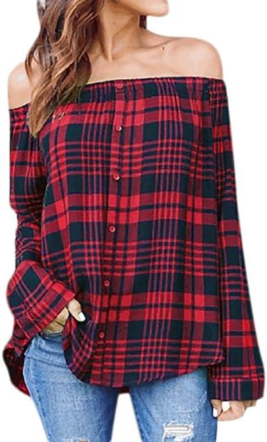 DEELIN Camisa De Manga Larga con Hombros Descubiertos Y Cuadros De Mujer Top Rojo: Amazon.es: Ropa y accesorios