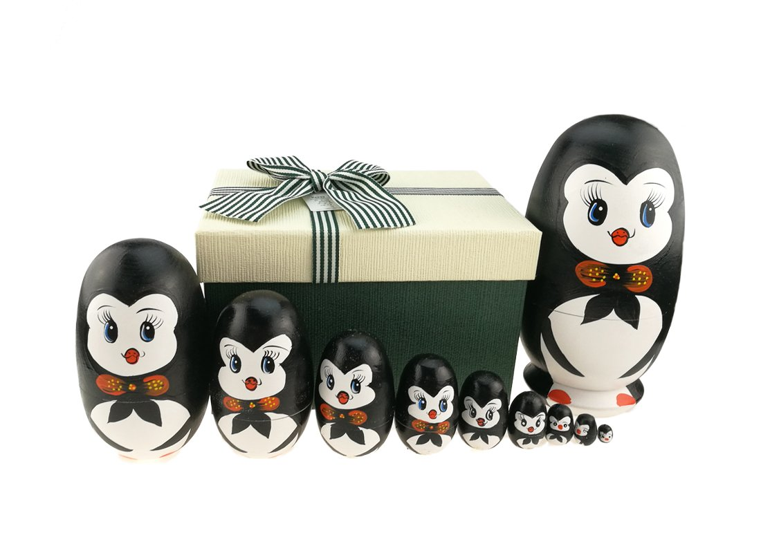 Lovely Penguin With Bowtie Egg Shape Handmade Wooden Russian Nesting Dolls Matryoshka Doll Set 10 Pieces in a Exquisite Gift Box With Bow For Home Decoration Kids Toy Birthday Christmas Easter Gift by Apol