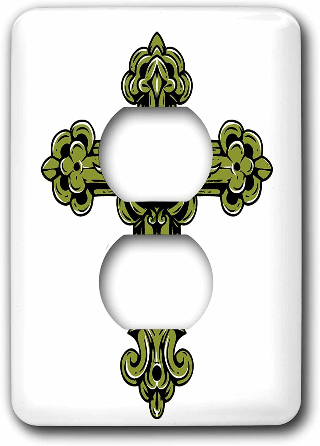 3drose Lsp 78343 6 Green Decorative Religious Cross Light Switch Cover Outlet Plates Amazon Com