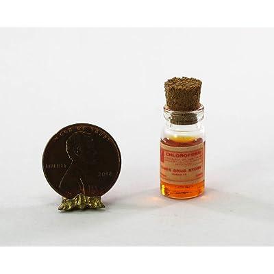 Dollhouse Miniature Vintage Style Glass Bottle of Orange Faux Chloroform: Toys & Games