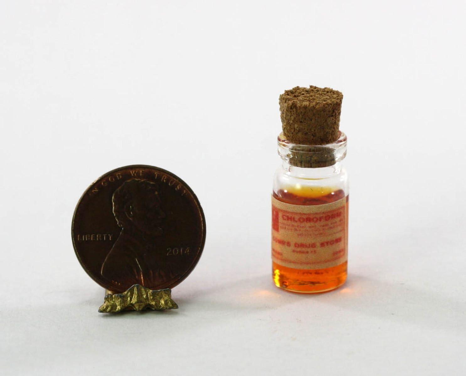 Miniature Dollhouse Amber Glass Bottle