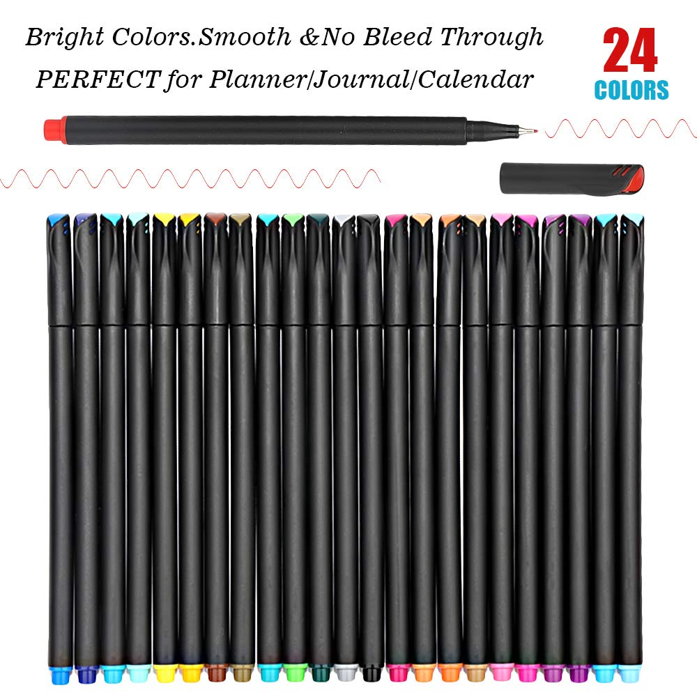 Journal Planner Pens Colored Pens Fine Point Bullet Pens, 0.4mm Fineliner Color Pens for Drawing Writing Journaling Coloring, Art School Office Supplies Set of 24 Assorted Colors by JR.WHITE (Image #2)