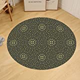 Gzhihine Custom round floor mat Arabesque Middle Eastern Islamic Motif with Arabic Effects Filigree Swirled Artsy Print Bedroom Living Room Dorm Pearl Grey
