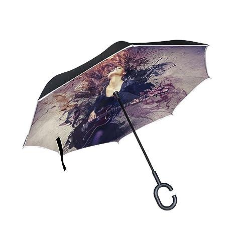 COOSUN Hermosa Músico que toca la guitarra capa doble del paraguas invertido inversa para el coche