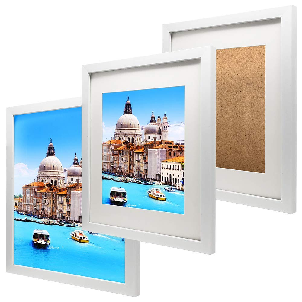 NAN Wind 11x14 White Picture Frames with 8x10 Mat for Wall and Table Stand Photo Artwork Display Pictures Set of 3 Pack Wide Molding Wall Mounting Material Included