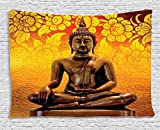 Ambesonne Buddha Decor Collection, Antique Buddha Sitting on Floor Floral Background Asian Oriental Pure Calm Canvas Home, Bedroom Living Room Dorm Wall Hanging Tapestry, 60W X 40L Inch, Orange Bronze