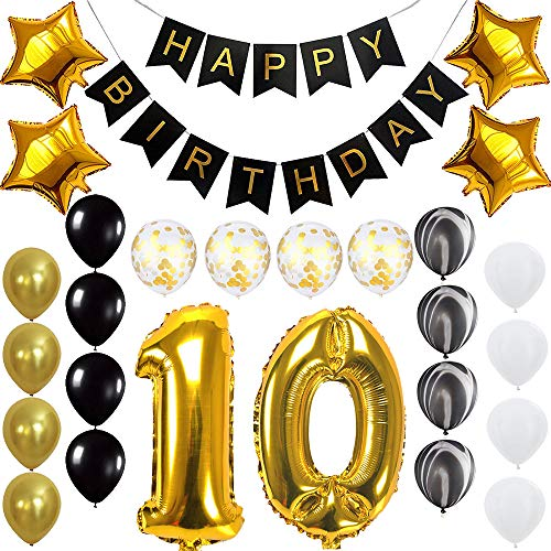 Happy 10th Birthday Banner Balloons Set for 10 Years Old Birthday Party Decoration Supplies Gold Black ()