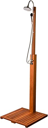 STILISTA® Cascata de ducha de jardín hecha de madera Shorea certificada FSC al 100%, ducha de madera engrasada que incluye ducha de mano ducha de piscina, ducha al aire libre: Amazon.es: Hogar