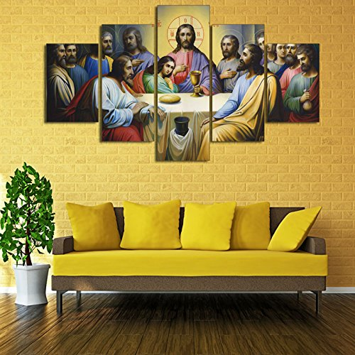 PEACOCK JEWELS [Large] Premium Quality Canvas Printed Wall Art Poster 5 Pieces / 5 Pannel Wall Decor Jesus The Last Supper Painting, Home Decor Pictures - Stretched
