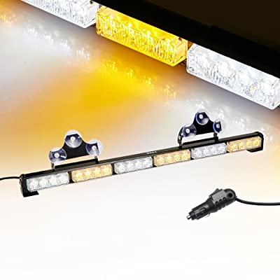 "V-SEK 24 LED 27"" Hazard Emergency Warning Tow Traffic Advisor Flash Strobe Directional Light Bar (Yellow/White): Automotive"