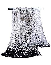 Bullidea Women's Silk Scarf Soft Long Floral Print Chiffon Scarves Shawl Wrap Beach Sun Protection Black