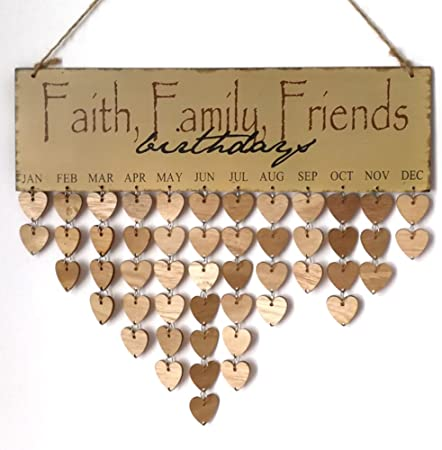 diy wooden birthday reminder board plaque sign hanging friend family calendar YJ