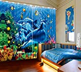 Sproud Underwater World Dolphin Blackout 3D Window Curtain Bedroom Kitchen Curtains For Living Room Home Decoration-260Cmx300Cm For Sale