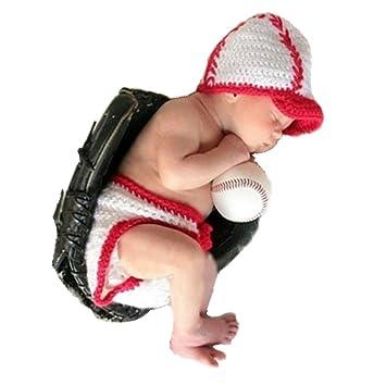 221fed8dc4ad7 Amazon.com  Coberllus Newborn Baby Boy Girl Photography Props Outfits  Lovely Crochet Baseball Sports Hat Cap Shorts Costume Set  Baby