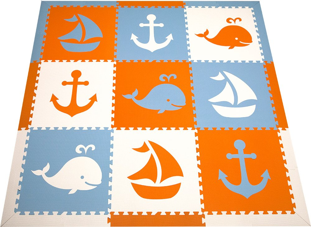 SoftTiles Foam Playmat - Nautical Ocean Theme - Nontoxic Flooring For Nursery/Playroom Interlocking Children's Play Mats 78''x78'' (Orange, White, Light Blue) SCNAUOWS
