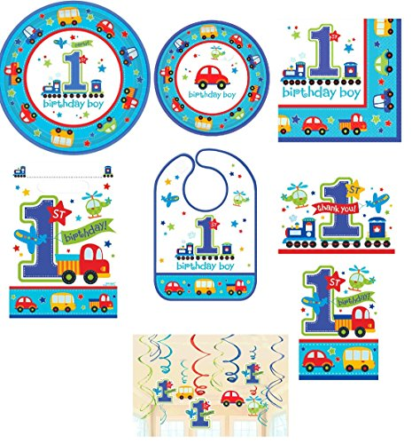 Amscan Boy's 1st Birthday Party Pack! Bundle Plates, Napkins, Bib, Invitations, Thank Yous, Loot Bags Hanging Decorations -