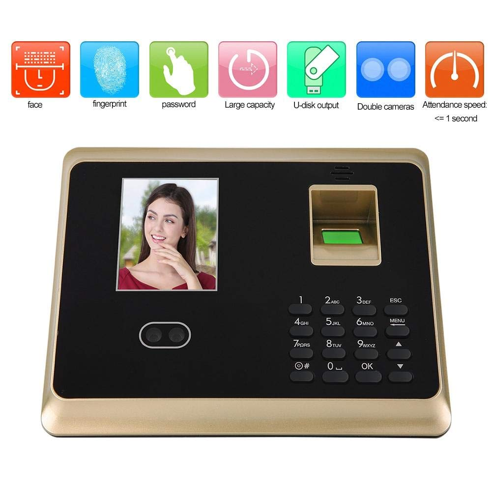 Intelligent Biometric Fingerprint Password Employee Checking-in Recorder Fingerprint Attendance Machine, 2.8in HD TFT Colorful Screen Office Time Attendance Clock (US) by Dioche