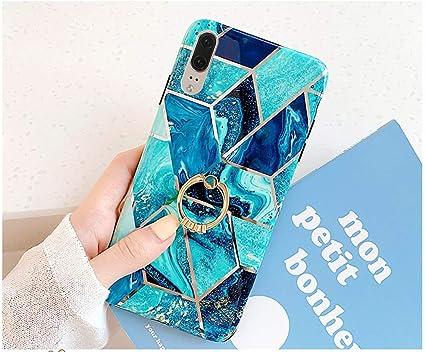 Custodia Compatibile con Huawei P20 Pro Cover Supporto Anello Marmo Geometrico Modello Ultra-Sottile Cassa Morbido TPU Silicone Anti Graffio Protettiva Rosa Grigio Verde Premium Gel Bumper,Stile 2