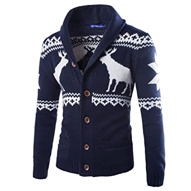 b2df4d9bf3359f Anglewolf Men's Autumn Winter Warm Wool Cable Knitted Chunky Jumpers  Christmas Sweater Buttons Cardigan Xmas Knitwear