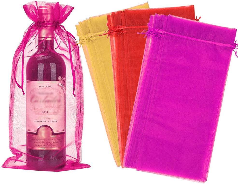 Perfetsell Bolsas para Botellas de Vino de Organza, 30 Pcs Bolsas de Regalo para Botellas de Vino de 75Cl, Bolsas para Regalar Vino Y Cerveza Bolsa Vino para Bodas, Fiestas, Vacaciones, Decoración