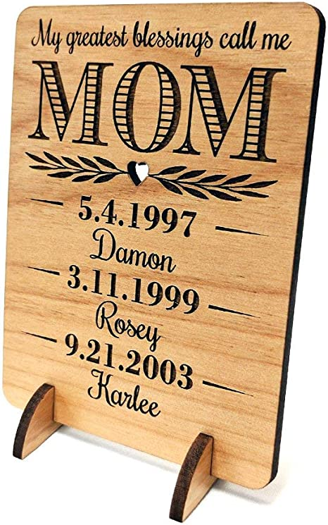 personalised engraved wooden heart keepsake gift First mothers day gift